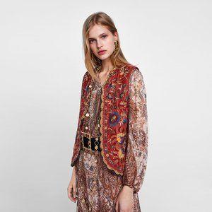 Zara velvet embroidered vest - size Large